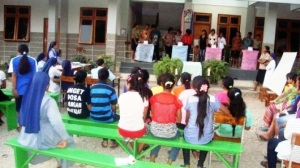 Peserta lomba baca dan kuis kitab suci tingkat SMA- SMK se Asrama Susteran SSpS Timor, Minggu (30)