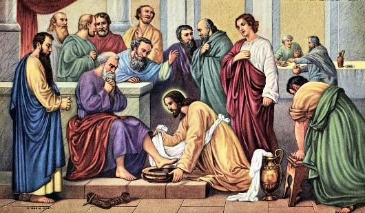 Yesus membasih kaki para murid-Nya