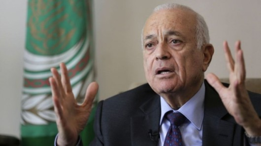 Foto Hassan Ammar dari AP memperlihatkan Sekjen Liga Arab Nabil Elaraby