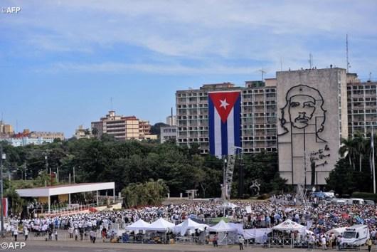 Pemandangan Lapangan Revolusi Havana tempat Paus merayakan Misa