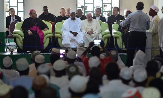 Pope Francis during a visit to the Koudoukou mosque in Bangui. Photograph Giuseppe Cacace atau AFP atau Getty Images