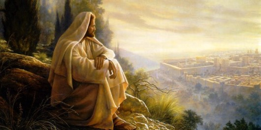 Christ alone praying