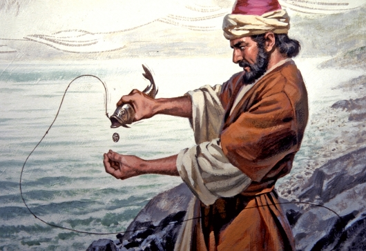 Peter catches fish with coin