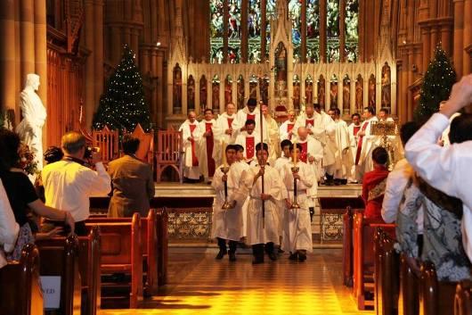 Misa Natal 2013 Komunitas Katolik Indonesia di  Sydney di Katedral St Mary Sydney. Foto dari Facebook KKI di Australia