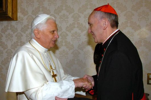 Pope Benedict and Cardinal Bergoglio
