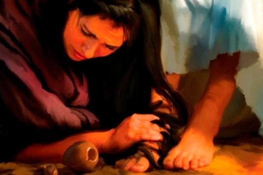 Maria membasuh kaki Yesus