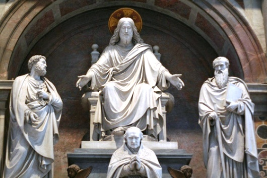 Yesus, Santo Petrus, Santo Paulus dan seorang Paus