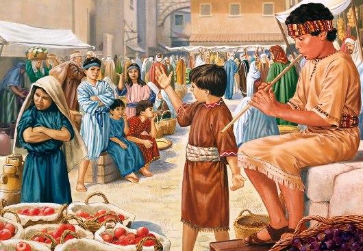 Anak-anak main seruling di pasar