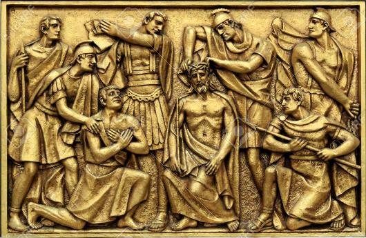 30424674-golden-bas-relief-of-the-old-basilica-of-fatima-representing-one-of-the-fourteen-mysteries-of-the-ro