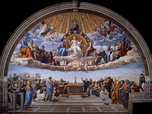 Disputa Sakramen lukisan Raphael, diambil dari Wellspring