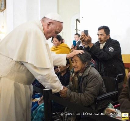 Paus berkunjung San Cristobal de las Casas memui banyak orang sakit