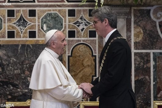 Pope Francis greets Lord Mayor of Aachen, Marcel Philipp, during the Charlemagne Prize awards ceremony in Vatican City. - ANSA