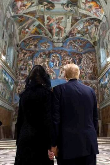 US President Donald Trump visited the Sistine Chapel on Wednesday with his wife, Melania.