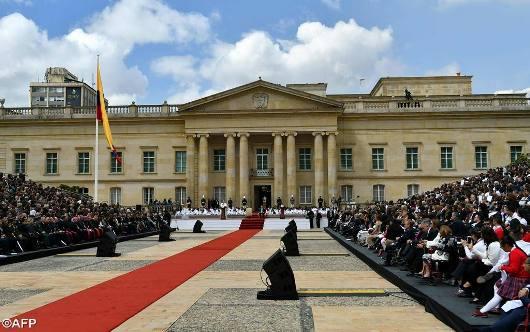 Paus di depan Istana Presiden Kolombia