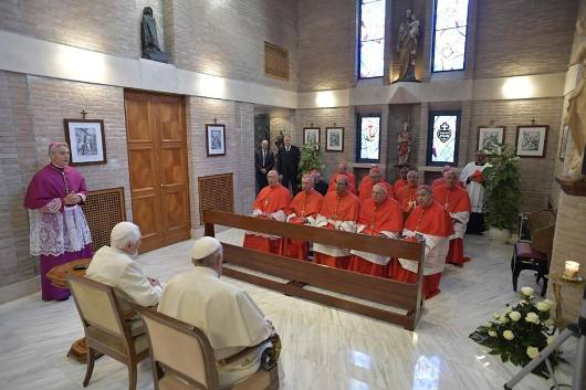Paus Fransiskus menemui Paus Benediktus XVI bersama para kardinal baru/Vatican Media