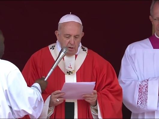 Paus Fransiskus berbicara tentang OMK dalam sambutan sebelum Doa Malaikat Tuhan dalam Misa Minggu Palma di Lapangan Santo Petrus. (Tangkapan Layar PEN@ Katolik dari Laporan Langsung Vatican News)
