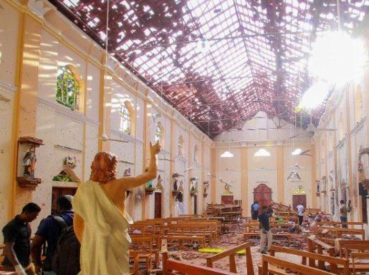 Gereja Santo Sebastianus di Negombo, Sri Lanka, setelah serangan teroris Minggu Paskah,  21 April 2019. (Madusanka Siriwardana)
