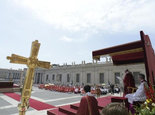 Paus memberikan homili dalam Misa Pentakosta di Lapangan Santo Petrus (Vatican Media)