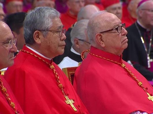 Kolese Kardinal berjumlah 216, di antaranya 119 pemilih, dengan meninggalnya Kardinal Sergio Obeso Rivera (kanan). (Foto romereport.com)