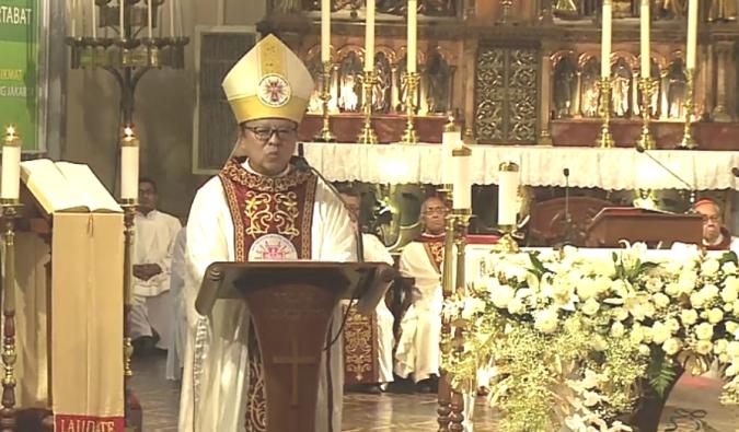 Ignatius Kardinal Suharyo menyampaikan homili dalam Misi Syukur Pelantikan dirinya sebagai kardinal