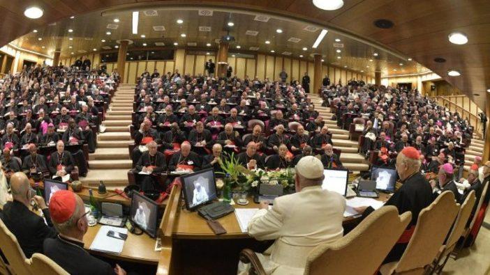 Paus Fransiskus memberi sambutan pada sesi terakhir Sinode Amazon (Vatican Media)