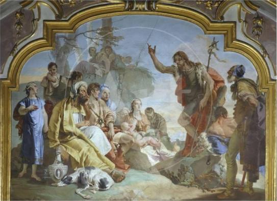 Gambar Santo Yohanes Pembaptis di Kapel Colleoni di Bergamo, Italia