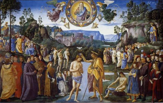 Pembaptisan Tuhan, Karya Pietro Perugino di Kapela Sistina, Vatikan