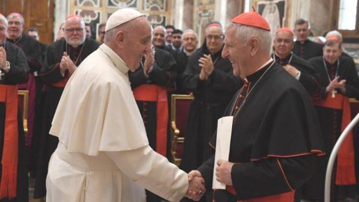 Paus menyalami peserta Pertemuan Pleno Kongregasi untuk Pendidikan Katolik  (Vatican Media)