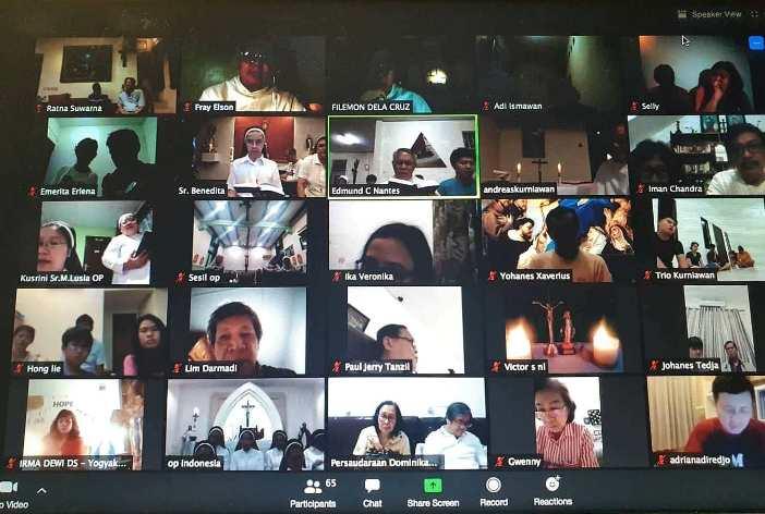 Doa Rosario Bersama Keluarga Dominikan Indonesia (pastor, suster, frater, dan awam) untuk menghalau pandemi Covid-19 pada Pesta Santa Katarina dari Siena 29 April 2020