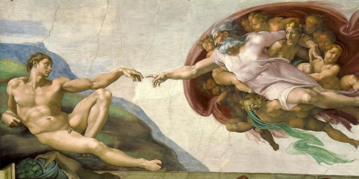 Sampai awal Renaisans, Allah Bapa biasanya digambarkan sebagai tangan yang menjulur keluar dari awan. Di Kapel Sistina, Michelangelo menggambarkan Allah Bapa dengan tubuh berotot dan janggut putih panjang, yang merupakan perkembangan yang relatif baru dalam seni Kristen, dan menggemakan gambar dewa Yunani Jupiter.
