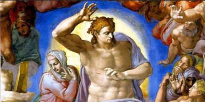 "Sosok sentral dan terpenting adalah Kristus Sang Hakim, seorang tokoh muda, atletis, dan berotot. Tatapannya tegas, dan menghadap ke kiri, ke neraka dan penderitaannya. Waktu untuk berbelas kasihan sudah lewat; di sini kita melihat Kristus memberlakukan keadilan, memisahkan ""domba dari kambing"" dan melemparkan mereka yang tidak layak ke dalam api abadi. Domain Publik melalui Wikipedia"