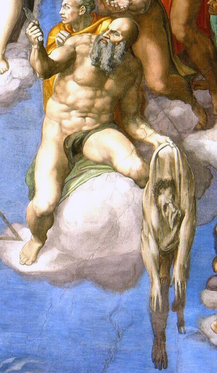 Yang berada di sebelah kanan di bawah kaki Kristus adalah Santo Bartholomeus. Di satu tangan, Dia memegang pisau yang digunakan untuk mengulitinya hidup-hidup; yang lain, Dia memegang kulitnya (semuanya utuh) setelah itu dilucuti dari tubuhnya. Wajah pada kulit yang menggantung adalah potret diri Michelangelo. Salah satu interpretasi dari hal ini adalah mungkin mencerminkan semangat Michelangelo yang tersiksa — saat dia melukis gambar ini, dia sudah lanjut usia dan mengalami krisis iman. Ada juga interpretasi lain: karena dia tidak ingin menerima komisi lukisan dinding itu, dia merasa lebih baik dikuliti hidup-hidup daripada melakukan pekerjaan itu. Domain Publik melalui Wikipedia