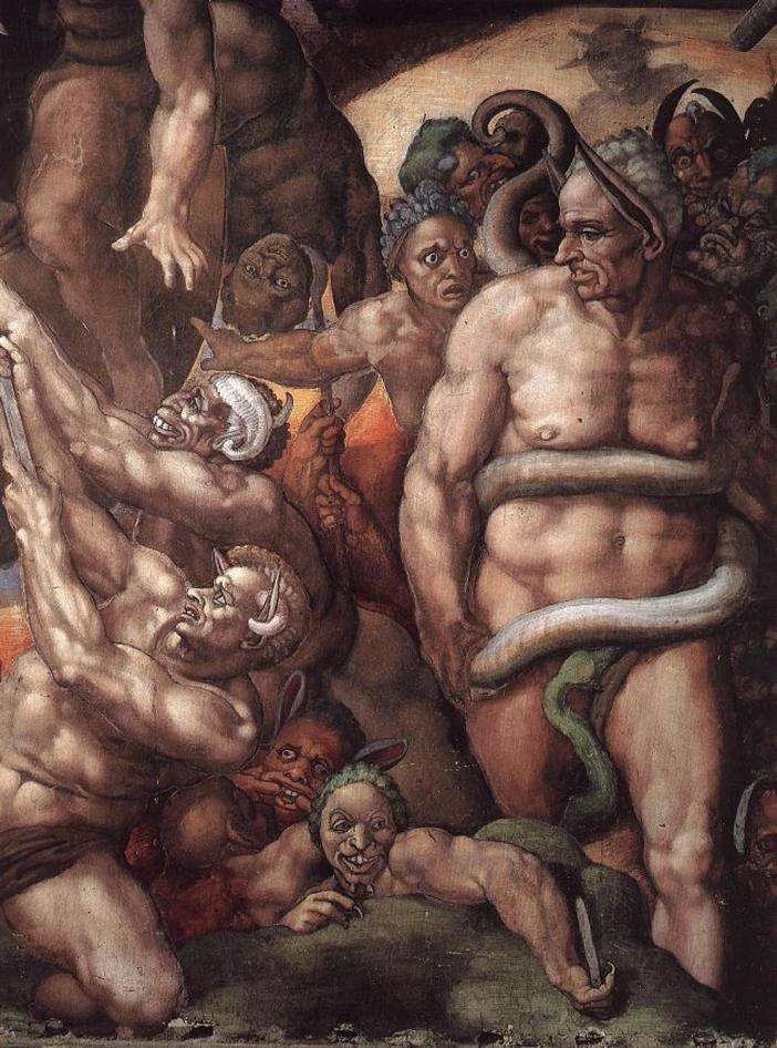 """Pembawa acara kepausan, Biagio de Cesena, secara khusus menentang karya Michelangelo. Dia merasa sangat memalukan bahwa tempat suci semacam itu harus menampung representasi semua tokoh telanjang itu. Lebih jauh dia katakan bahwa lukisan-lukisan itu cocok """"untuk pemandian umum dan bar,"""" tetapi tidak untuk sebuah kapel kepausan. Michelangelo bereaksi terhadap kritik itu dengan membuat gambar mirip pencelanya dalam lukis sebagai Minos, hakim neraka, dengan telinga keledai dan seekor ular menggigit kemaluannya. Dikatakan, ketika Cesena mengeluh kepada Paus, Paus menjawab dengan mengatakan bahwa otoritasnya hingga Api Penyucian, tetapi bukan Neraka, jadi potret itu harus tetap ada. Domain Publik melalui Wikiped"""