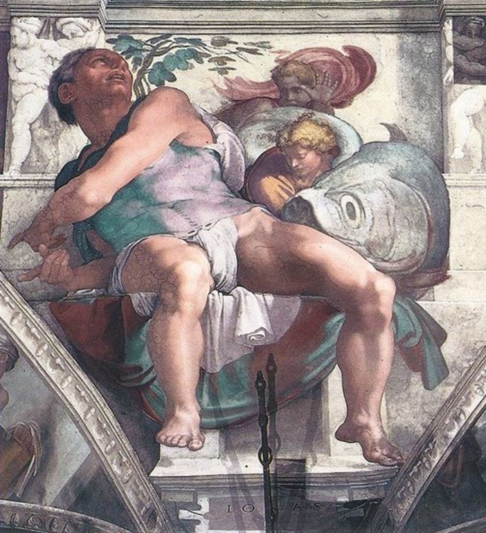 "Setelah kematian Michelangelo, para pendukung sensor menang secara sepihak, dan alat kelamin telanjang ditutupi dengan gambar oleh Daniele da Volterra. Dengan demikian dia menerima julukan ""the Braghettone"" (pembuat celana). Domain Publik melalui Wikipedia"