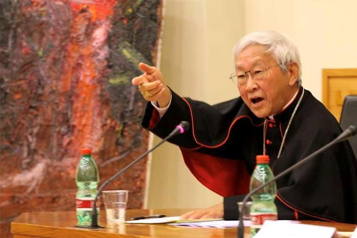Uskup emeritus Hong Kong Kardinal Joseph Zen berbicara di Universitas Kepausan Urbana di Roma, 18 November 2014. (BOHUMIL PETRIK/CNA)