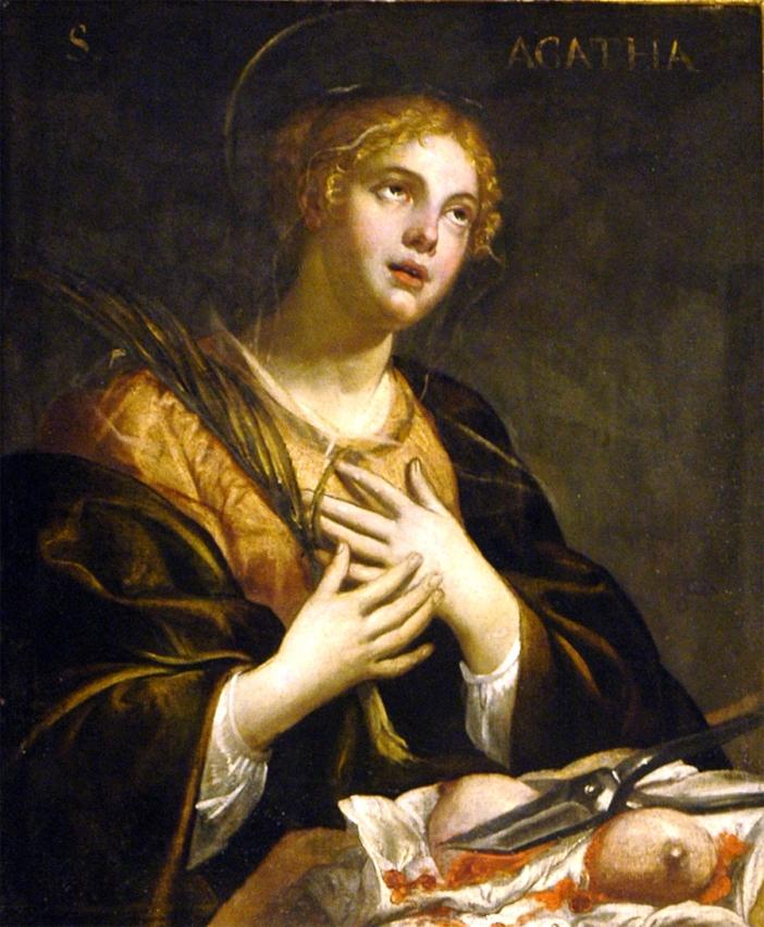 Santa Agatha. Para pasien kanker payudara sering memohon perantaraan Santa Agata, yang dua payudaranya dipotong sebelum kemartirannya