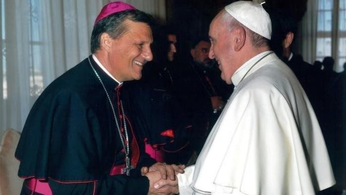 Paus Fransiskus bersama sekretaris baru Sinode Para Uskup, Mgr Mario Grech