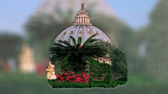 Kubah Basilika Santo Petrus dari Taman Mawar, Taman Vatikan. Foto oleh Nik Barlo Jr @ Museum Vatikan