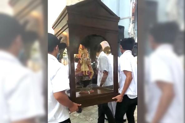 Patung Anak Yesus, Sto Niño De Malibog berusia berabad-abad, yang dicuri dari Gereja Paroki Santo Niño di Malitbog, Leyte Selatan