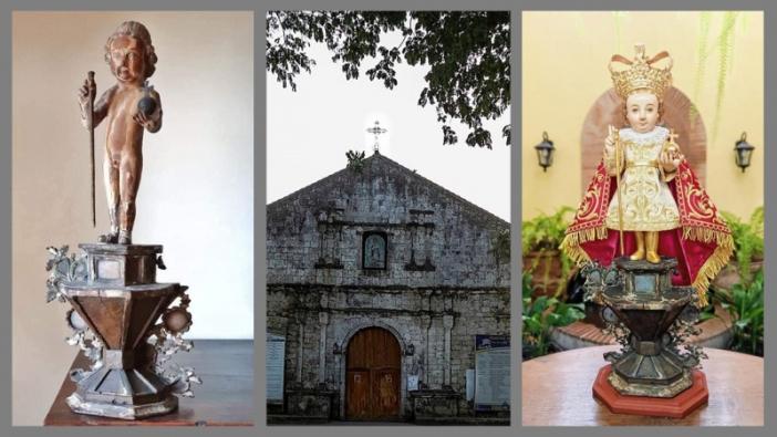 Dari kiri ke kanan: patung saat ditemukan, Gereja Malitbog, dan patung yang sudah mengenakan pakaiannya