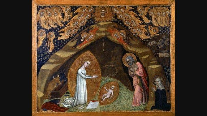 Niccolò di Tommaso, Penampakan Kelahiran dari Santa Brigitta dari Swedia, Tempera pada poplar, berlapis emas, setelah 1372, Museum Vatikan, © Musei Vaticani