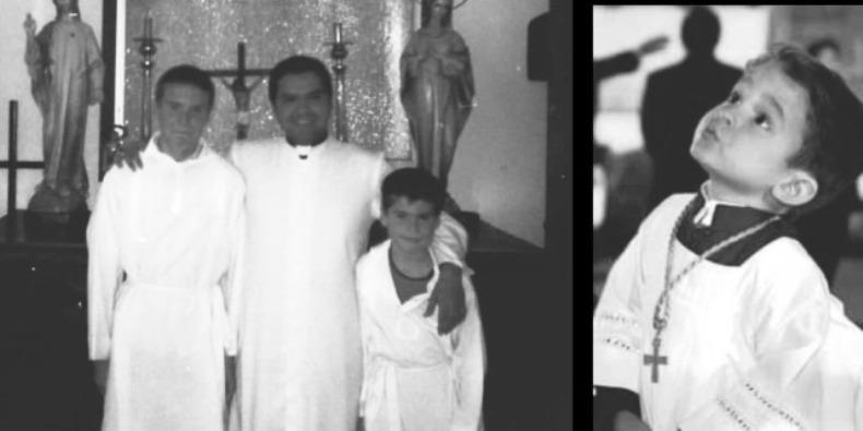 Pastor José Rodrigo López Cepeda bersama putra altarnya. (Semua foto dalam tulisan ini diambil dari Facebook @ parroquia.delapaz)