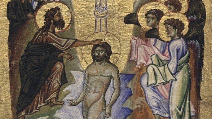 Pembaptisan Tuhan oleh Yohanes di Sungai Yordan (© BAV Urb.gr.2, f.109v)