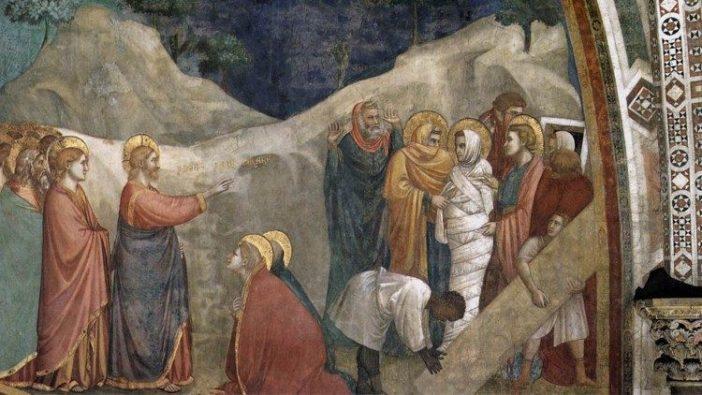 Gua di Bondone, 'Kebangkitan Lazarus', lukisan dinding di Gereja bawah Santo Fransiskus di Assisi, Italia