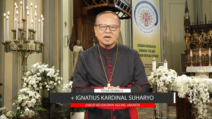 Kardinal Suharyo membacalan Pesan Prapaskah KA 2021 (PEN@ Katolik/pcp.screenshot)J