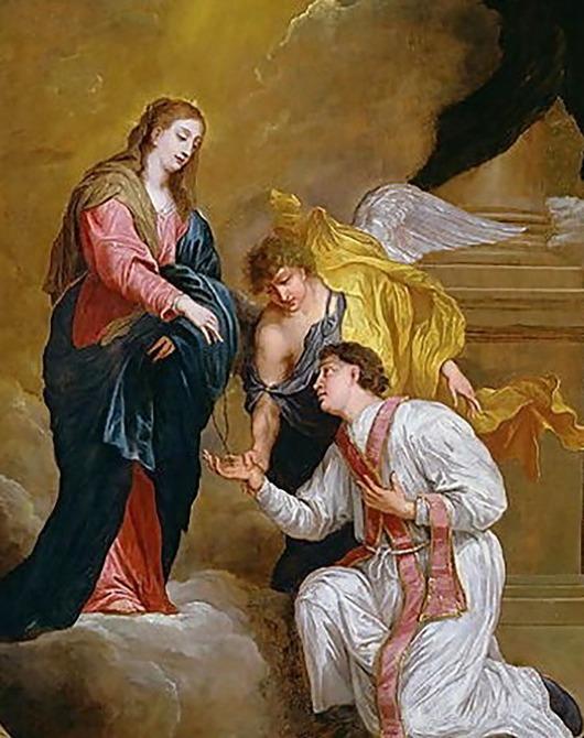 Santo Valentinus yang berlutut sambil memohon menerima rosario dari Perawan Maria (David Teniers III, 1600s)