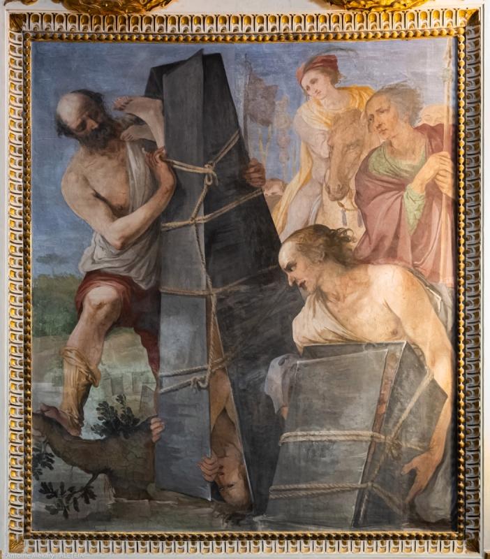 Basilika Santi Quattro Coronati. Dalam apse, siklus lukisan menggambarkan kisah para martir yang dimahkotai (detail). © Antoine Mekary | ALETEIA