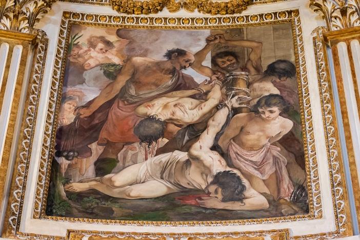 Basilika Santi Quattro Coronati. Detail siklus lukisan di apse yang menggambarkan kisah para martir yang dimahkotai. © Antoine Mekary | ALETEIA