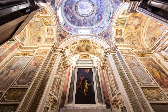 Kapel Pemandian di basilika Santa Cecilia di Trastevere, dibangun di atas calidarium, tempat Santa Cecilia dikurung agar dia mati lemas oleh uap. © Antoine Mekary | ALETEIA