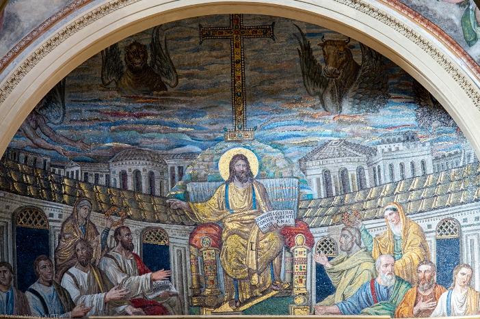 Basilika Santa Pudensiana dari Viminale. Gereja berisi mosaik berbentuk apse yang berasal dari abad ke-5. Basilika Santa Pudensiana dari Viminale adalah milik Kementerian Dalam Negeri Italia. © Antoine Mekary | ALETEIA